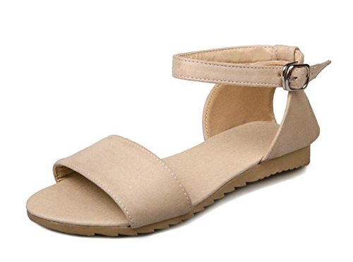 Sandals Peep To Ankle 43 Women Simple Shoes Pumps Size Casual 40 Strap GLTER Toe Beige Shoes Large Wear Flat p57xznqqw