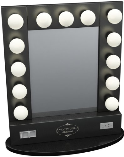 Broadway table top lighted vanity mirror 27 x 13 black frame broadway table top lighted vanity mirror 27quot x 13quot black frame aloadofball Gallery