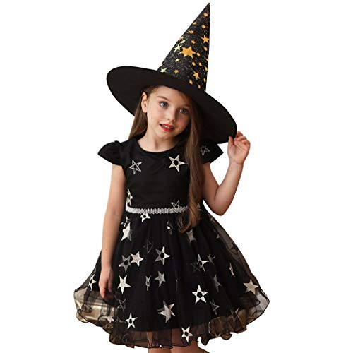 Halloween Costumes For 6 People (Pongfunsy Little Girls Princess Dress Star Print Party Queen Halloween Costume Performance Formal Dress+Hat Clothes)