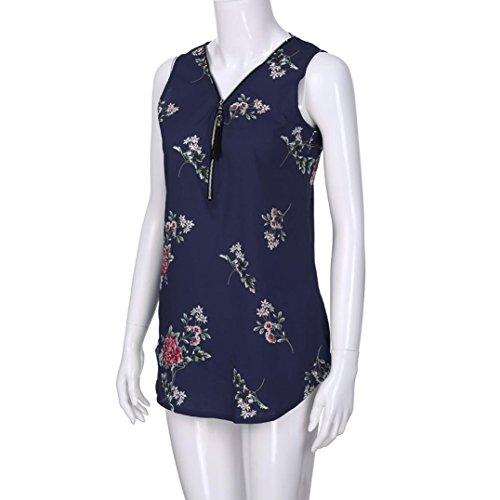 T Damen Oberteile Blau DOLDOA Tank 13 Tops Shirt Reißverschluss Frauen Sommer rH1qrT0