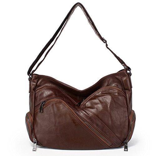 GUANGMING77 _Crossbody Bag Tasche Tasche Kopf Schicht Alle-Match Breitband Messenger Coffee Ut4kixegJr
