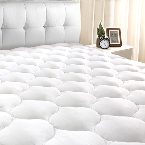 "Mattress Pad California King Bedding - California King Mattress Pad Cover 8-21""Deep Pocket - Cooling Mattress Topper Overfilled 300TC Snow Down Alternative"