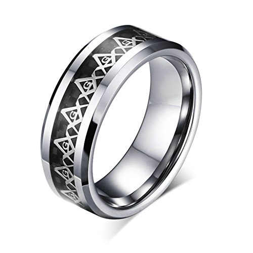 [Stainless Steel Ring for Men, Freemason Ring Gothic Black Band Silver Band 8MM Size 12 Epinki] (Soa Baby Costume)