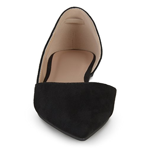 Journee Collection Womens Faux Suede DOrsay Flats Black, 7 Regular US
