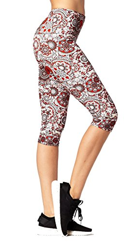 Premium Ultra Soft Womens High Waisted Capri Leggings - Cropped Length - Printed - Red Eye - Small/Medium (0-12)