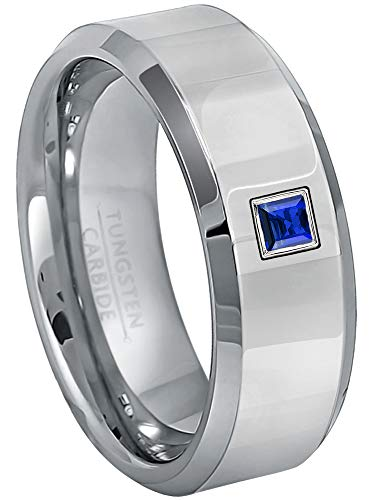 0.10ctw Solitaire Princess Cut Blue Sapphire Tungsten Ring - 8MM Polished Finish Beveled Edge Tungsten Carbide Wedding Band - September Birthstone Ring - s13 ()