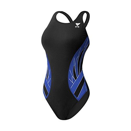 TYR Phoenix Splice Maxfit Swimsuit, Black/Blue, Size - Swimsuit Size 36