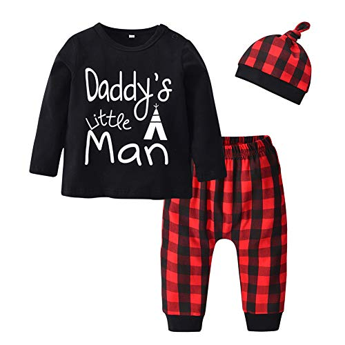Baby Boys 3 Pieces Clothes Daddys Little Man Long Sleeve T-Shirt Plaid Pants with Hat Outfit Set