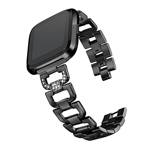 bayite Bling Bands Compatible with Fitbit Versa Watch, Stainless Steel D-Link with Rhinestones, Black 5.5
