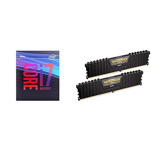 Intel Core i7-9700K Desktop Processor 8 Cores up to 4.9 GHz Turbo Unlocked and Corsair Vengeance LPX 16GB (2x8GB) DDR4 DRAM 3000MHz C15 Desktop Memory Kit - Black - Memory Dram Intel