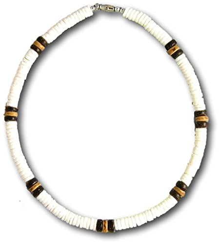 Native Treasure - 24 inch Mens White Clam Heishe 2 Brown 1 Light Wood Coco Puka Shell Surfer Necklace