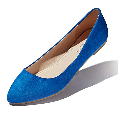 DailyShoes Women's Casual Flats Flat Shoe Ballet Slip On Classic Pointed Toe Shoes Summer Indoor Outdoor Lightweight Walking Beach Sports Pointy Loafer Royal,Blue,s,v,9
