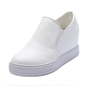 Van'an Nurture's Day Gift Comfortable Casual PU Leather Shoes Sports High Top Spring Sports Sneaker(35 M EU/5 B(M) US, White)