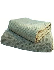 """Fina Ultra Absorbent Microfiber Waffle towel SET - ONE SET of Body(29"""" x 55"""") and Hair(19"""" x 39"""") Towel in SAGE color ONLY."""