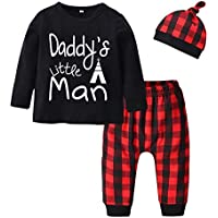 Baby Boys' 3 Pieces Clothes Daddy's Little Man Long Sleeve T-Shirt Plaid Pants with Hat Outfit Set
