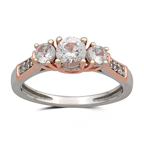 (Jewelili Sterling Silver with 10K Rose Gold Accent Created White Sapphire Three Stone Engagement Ring, Size 7)