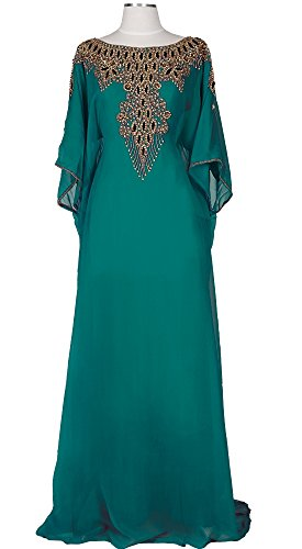 Covered Bliss Aceil Kaftan for Women-Long Sleeve Maxi Dress, Gown Formal Lounge Wear (Teal) - Long Sleeve Caftan Dress
