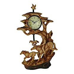 Everspring Import Company Trail Rider Cowboy and Horse Carved Wood Look Sculptural Pendulum Clock