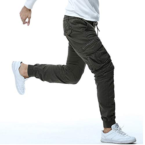 Sumen Mens Trousers,Slim-Fit Vintage Chino Cargo Khaki Pants Teen Boys Jogger Pants