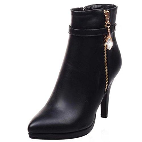 AIYOUMEI Damen Glattleder Stiletto Stiefeletten mit Strass und Reißverschluss High Heels Ankle Boots lltLvZ