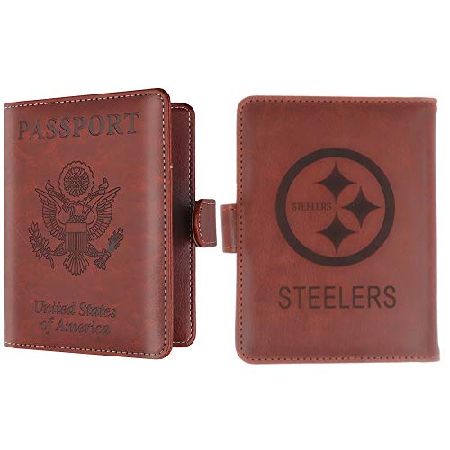CHNNFC NFL Premium Brown Leather Laser Carving Travel Wallet (Pittsburgh Steelers)