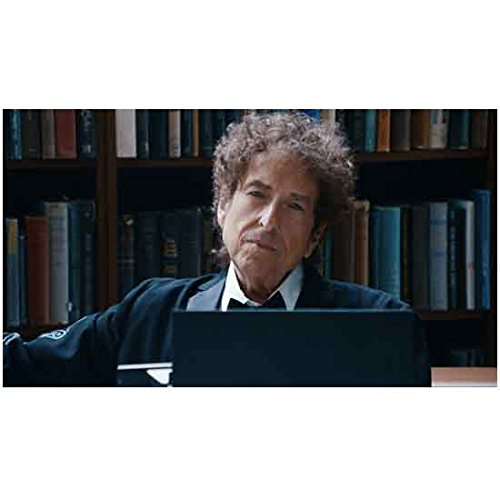 Bob Dylan 8 inch by 10 inch) PHOTOGRAPH Singer Soundtrack for American Beauty Forrest Gump The Big Lebowski from Shoulders Up in Library w/Laptop kn