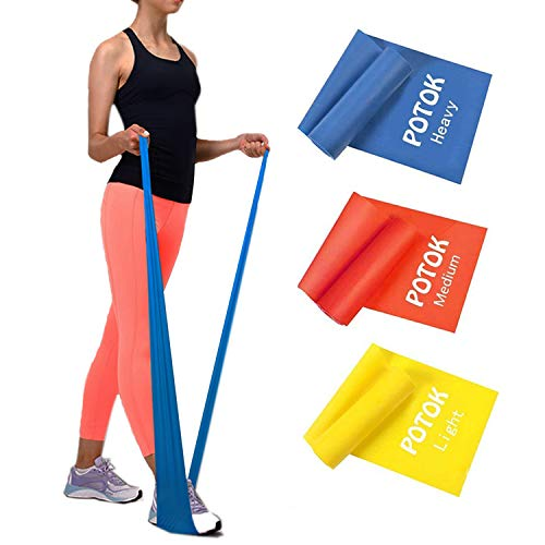 Potok Resistance Band Set, 3Pack Latex Elastic Bands for Upper & Lower Body & Core Exercise, Physical Therapy, Lower Pilates, at-Home Workouts, and Rehab, Yellow & Red & Blue - Flat Bands Therapy