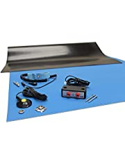 """Rubber ESD Anti-Static HIGH Temperature Soldering MAT KIT-24"""" X 36"""" (2'x 3') - 0.08"""" Thick- with Dual Bench and Wrist Strap-Blue"""