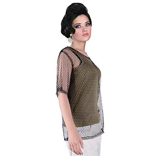 Unisex 80s Fishnet Shirt String Vest Pop Punk Rocker Mesh Club Top (Black, Standard Size) -