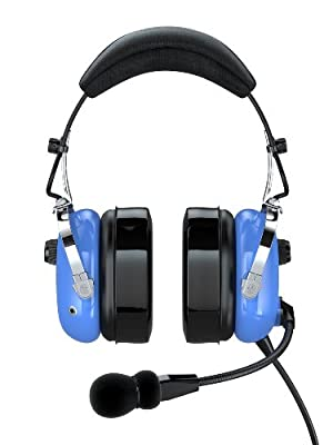 FARO G2-PNR Premium Pilot Aviation Headset with Mp3 Input (Adapters for aviation headset connectors, standard dual GA adapter universal support)-Blue