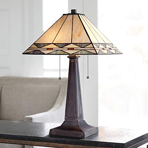 - Art Deco Accent Table Lamp Mission Bronze Stained Glass Shade for Living Room Family Bedroom Bedside Office - Robert Louis Tiffany