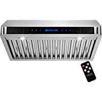 AKDY 30 Under Cabinet Stainless Steel LED Display Touch Control Panel Kitchen Vent Fan Range Hood & Remote Control