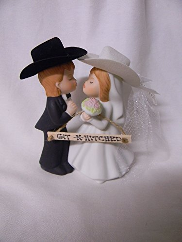 Groom Cowboy Hats - Wedding Western reception party Git N Hitched Sign Redneck Kissing cake topper