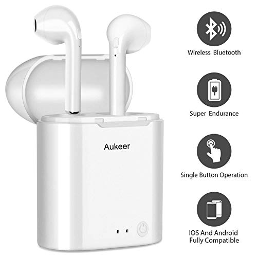 Aukeer Wireless Earbuds, True Wireless Bluetooth Headphones Mini Sweatproof Sport Headsets in-Ear Noise Cancelling with Built-in Mic and Charging Case for iPhone iPad Android Smartphone(White)