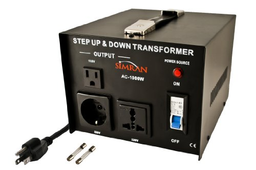 Simran AC-1000 Step Up Down Voltage Converter Transformer for Conversion Between 110 Volt and 220 Volts - 1000 Watts