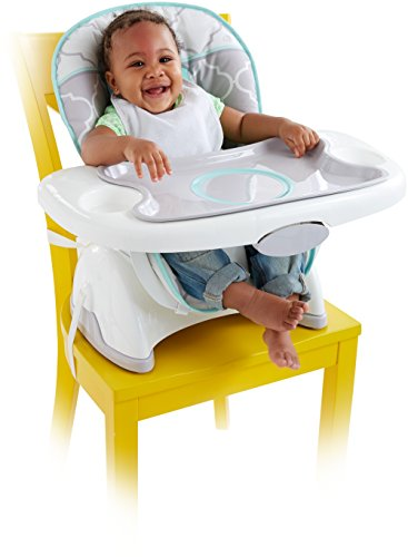 Fisher-Price Deluxe SpaceSaver High Chair, Safari Dreams Grey/Mint Deluxe Booster