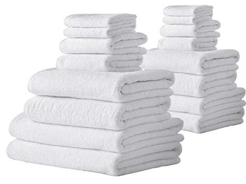 Barnum Collection 16 Piece Turkish Cotton Bath Towel Set, White