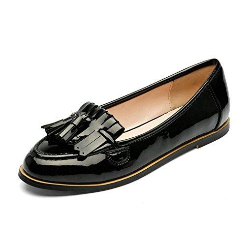 T-july Womens Nappa Oxford Penny Mocassini Scarpe Comfort Traspirante Camminare Scarpe Casual Piatte Nere