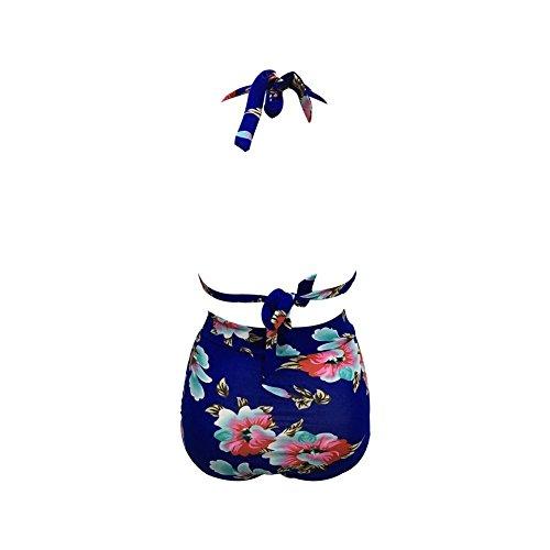 Garyline Retro 50s Black Pink Blue Floral Halter High Waist Bikini Carnival Swimsuit (Large, Blue)