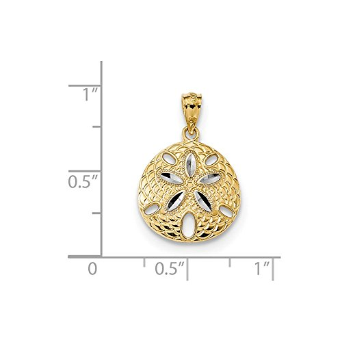 14k Yellow Gold with Rhodium Polished and D/C Beach Sand Dollar Charm Pendant