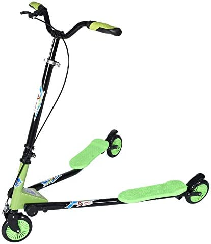 AODI Swing Scooter Adjustable 3 Wheels Foldable Wiggle Scooter Self Drifting for Kids Adult Age 6 Years Old and Up