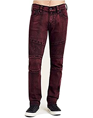 Men's Relaxed Slim Fit Moto Red/Black Jeans in Blood Ox
