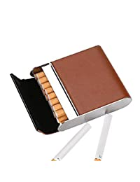 Stainless Steel Cigarette Case Vertical Section Ultra Thin Portable Cigarettes Box Business Gift Can Accommodate 20,Brown,9.5X8.2X2.1CM