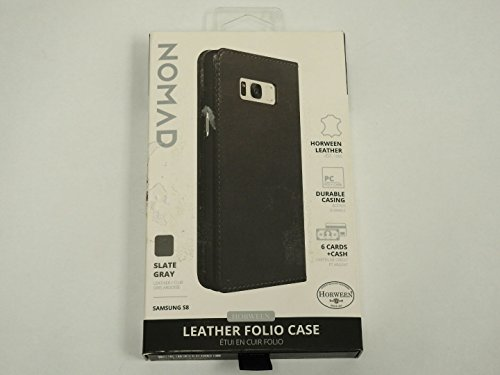 Nomad Leather Folio Case for Samsung Galaxy S8 (Smaller Version) Slate Gray by Nomad