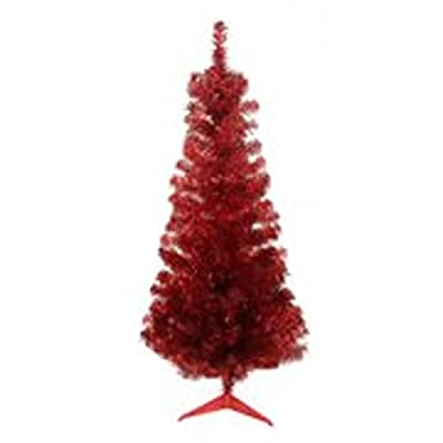 Northlight Unlit Red Tinsel Medium Artificial Christmas Tree, 4' x 24""