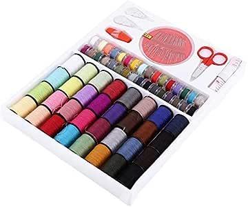 Hilos de coser, caja de 64 bobinas de colores, agujas, regla ...