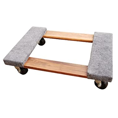 Vestil HDOC-1624-9 Hardwood Dolly with Carpet End, 900 lbs Capacity, 24  Length x 16  Width x 5-3/4  Height Deck