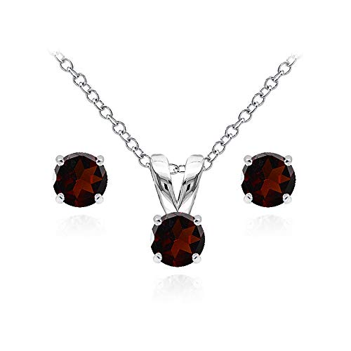 Garnet Pendant Set Round - Sterling Silver Garnet 5mm Round Solitaire Pendant Necklace and Stud Earrings Set for Teens