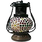 ZES Wooden & Iron Hand Carved Colored Chimney Lantern Design