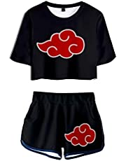 My Sky 2 PieceAkatsukiOutfits for Women Uchiha Short Sleeve Crop Top and Short Pants Sets